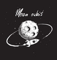 rocket flying around moon orbit vector image