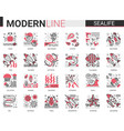 sealife flat line mini concept symbols red black vector image