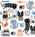 seamless pattern with cute kittens in diferent vector image vector image