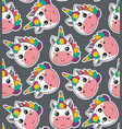 seamless pattern with cute unicorn faces vector image