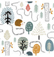 seamless woodland pattern with hedgehogs vector image