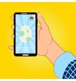 Smartphone in hand with the image of the egg game vector image