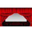 Stage interior with red curtains and seats vector image vector image