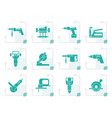 stylized building and construction tools icons vector image vector image