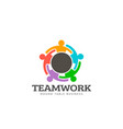 teamwork round table logo vector image vector image