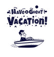 travel icon happy man traveling by boat vector image vector image
