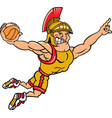 trojan sports logo mascot basketball vector image vector image