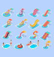 water park aquapark isometric icon set