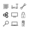 white background with monochrome icons of data vector image vector image