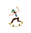 young hipster man riding skate doing tricks vector image