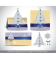 Greeting cards with silver ornate Christmas tree vector image