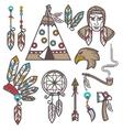 Set of wild west american indian designed elements vector image