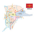 administrative and street map seville vector image vector image