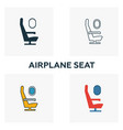 airplane seat icon set four elements in different vector image vector image