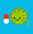angry bad bacteria microorganism virus vector image vector image