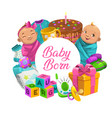 baby care cartoon poster with children toys frame vector image vector image