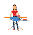 beautiful young brunette woman ironing clothes on vector image vector image