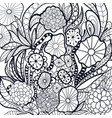 black and white doodle flowers vector image vector image