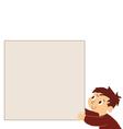 Boy holding noticeboard vector image