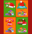 bright christmas sale cards vector image