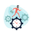 businessman run along gear in form of clock vector image