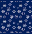 christmas snowflakes on blue background seamless vector image