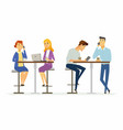 collegues on a lunch break - modern cartoon people vector image