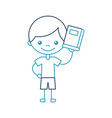 cute boy with book character icon vector image