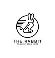 cute rabbit line art logo design best for pet vector image vector image