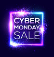 cyber monday sale banner fashionable neon style vector image vector image