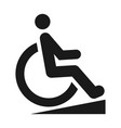 disabled person black icon wheelchair silhouette vector image vector image