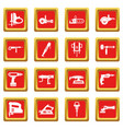 electric tools icons set red vector image vector image