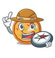 explorer pizza mascot cartoon style vector image vector image