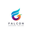 f letter logo for falcon creative falcon logo vector image