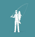 fisherman standing and show big fish graphic vector image
