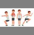 fitness man different poses variety of vector image vector image