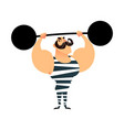funny cartoon circus strong man a strong muscular vector image
