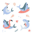 funny set with happy sharks vector image vector image