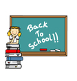 girl with books and blackboard vector image vector image