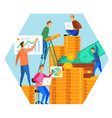 gold coin money cartoon people team brainstorming vector image vector image