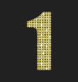 gold sequins number - one glitter font vector image