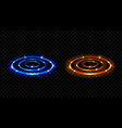 hologram effect vs circles neon versus round rays vector image vector image