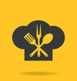 icon chef cook cap with fork spoon and fry vector image vector image