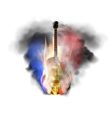 jazz guitar in smoke and fire vector image