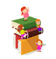 kids climbing in stack books vector image