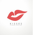 kiss symbol design with soft red lips vector image