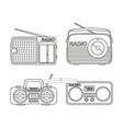 line art black and white radio element set vector image vector image