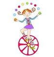 Line art drawing of circus theme - teenage girl