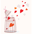 Love card with cage and heart vector image