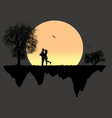 lovers in front a full moon vector image